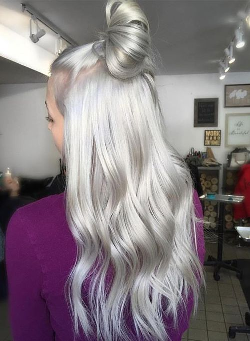 Gorgeous Silvery Grey Hair Color Ideas Blonde with A Topknot