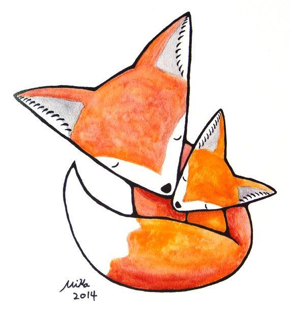 Abbildung drucken Mutter Kind Liebe süße Kinderzimmer Art Print Woodland Mom Baby Illustration nach Hause Wand Dekor Orange Gelb Rote Füchse...