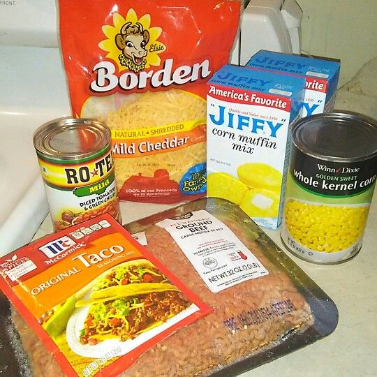 TACO CASSEROLE 2lbs of ground beef, one pack of taco seasoning, one can of corn…