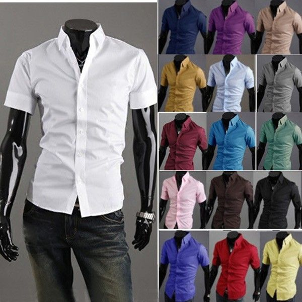 Fashion Multi-Color Stand Collar Men Short-sleeve Shirt via martEnvy. Click on the image to see more!