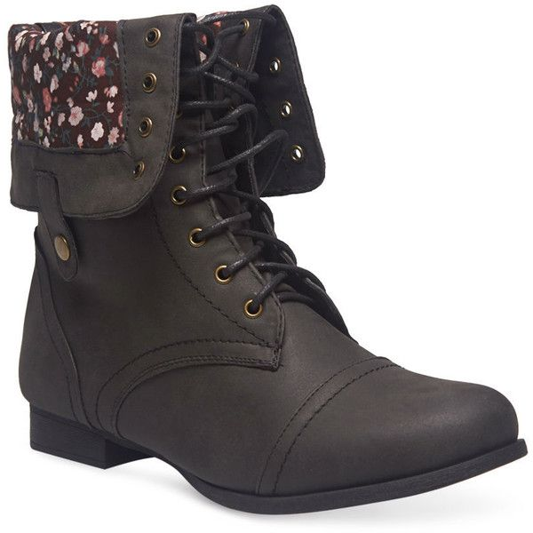 Floral Foldover Combat Boots - Wide Width ($40) ❤ liked on Polyvore featuring shoes, boots, black, mid-calf boots, combat boots, black lace up boots, mid calf combat boots, fold-over combat boots and army boots
