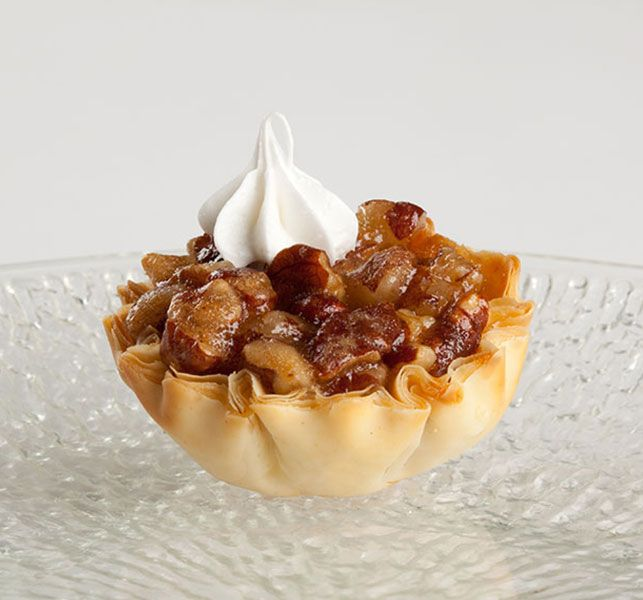 Print Recipe Description:Put a seasonal favorite flavor — pecan pie — into the palm of your hand with these bite-sized dessert treats.Ingredients: 2tablespoons butter, melted 2egg 3tablespoons light brown sugar 4tablespoons light corn syrup 1/2teaspoon vanilla 1cup pecans chopped 2 packages (15 count, each) Athens® Mini Fillo Shells Directions: In a medium mixing bowl, combine …