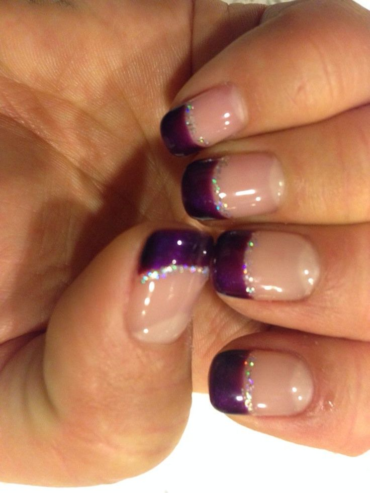 Shellac purple-tipped, glitter lined nails by Nikki @ Amazing Nail Spa in Pleasanton.