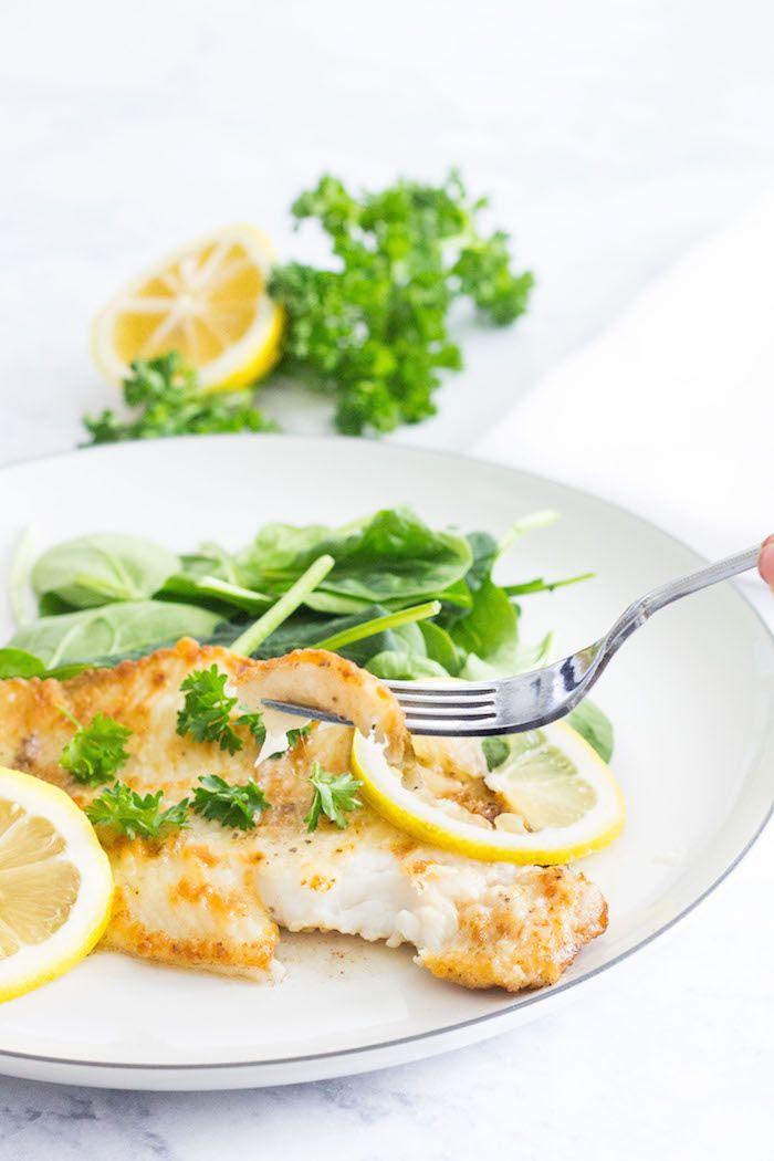 Sole Meunière: Fish pan-fried in a lemon-butter sauce. 10 minute meal! Recipe via MonPetitFour.com