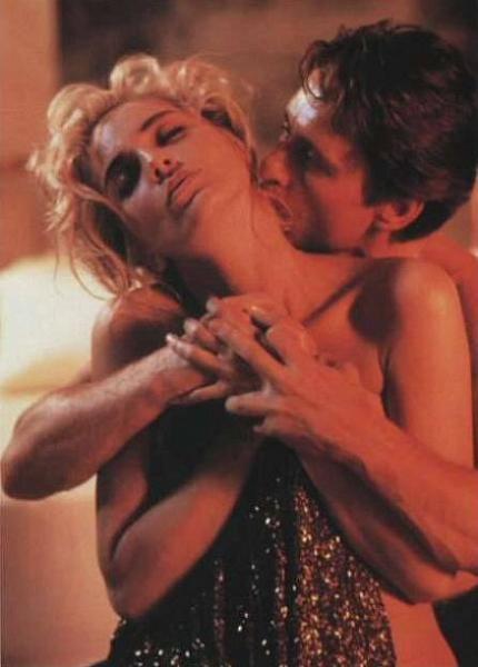 "Sharon Stone and Michael Douglas  in ""Basic Instinct"" (1992)."