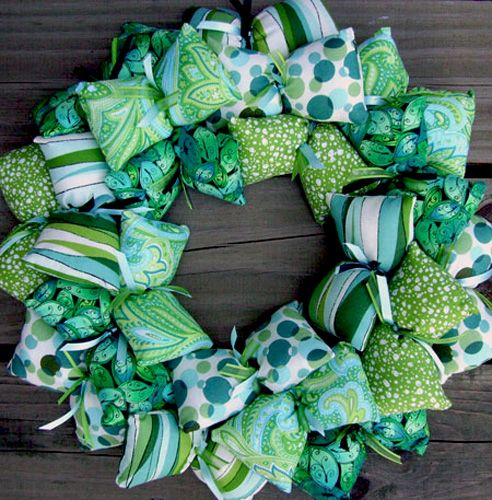 Retro Patterned Teal and Green Fabric Wreath Decoration | SooBoo - Housewares on ArtFire