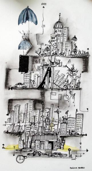 Marianne Stenberg http://www.artunika.com/illustration-architecture-buildings-humor-skyscraper-marianne-stenberg