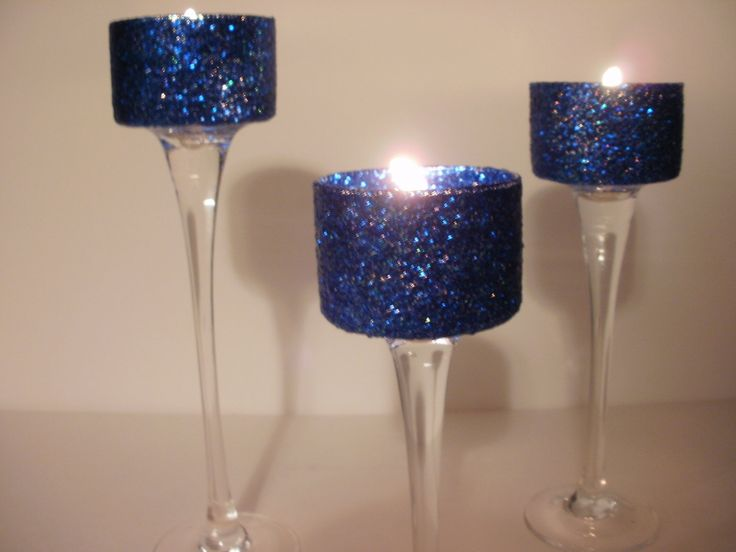 Wedding Centerpieces Navy Blue Simple Elegance Gel 3 Piece by Silk N Lights