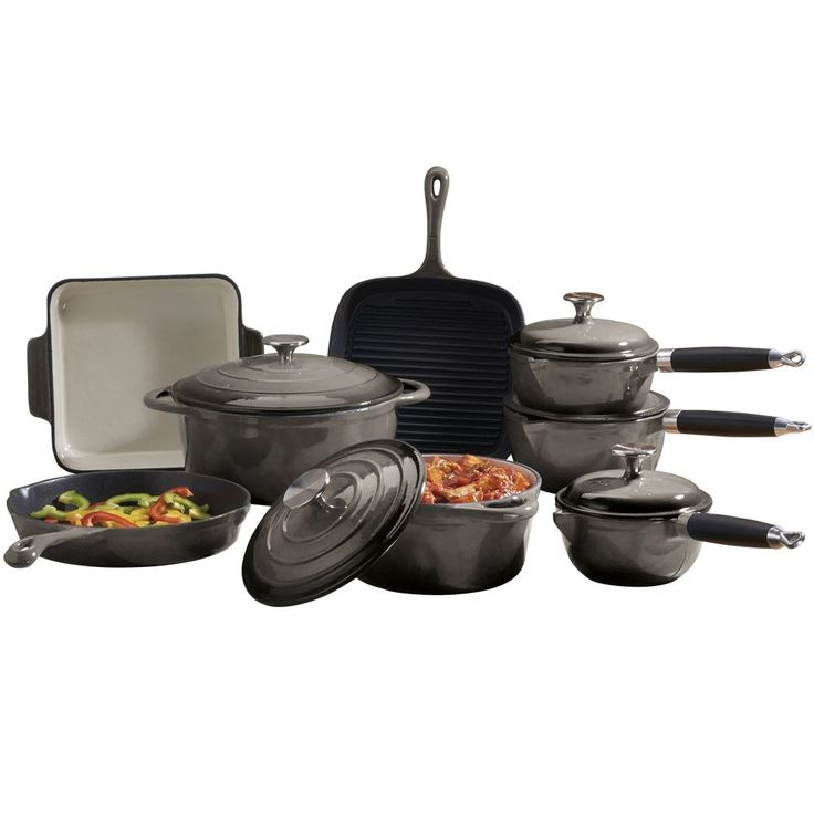 Cast Iron Cookware with Casserole Dish, Griddle, Saucepans & Frying Pans, 8 Piece Set by Cooks Professional (Grey): Amazon.co.uk: Kitchen & Home