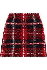 Mini-jupe en tweed de laine à motif tartan