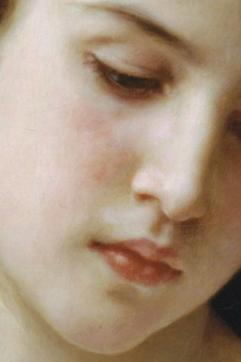 ❥ Head of a Young Girl (detail), William-Adolphe Bouguereau, 1898