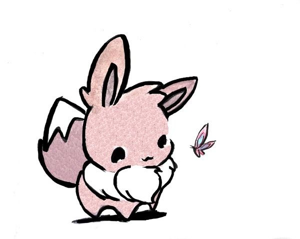 Thinking about getting this little Eevee as a tattoo in dedication to my daughter,  Evie