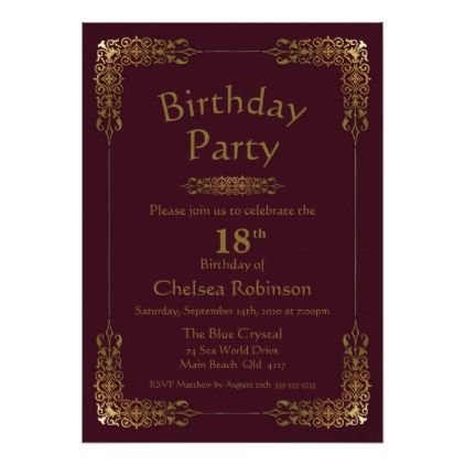 Elegant Gold Lace Burgundy 18th Birthday Party Invitation Zazzle