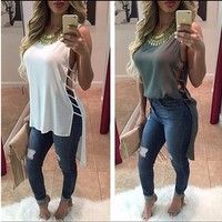 2016 New Hot Summer Style Fashion Women Loose Solid Tops Sexy Lady Hollow out Blouses O-neck Sleeveless Blouse Shirt NXH01086