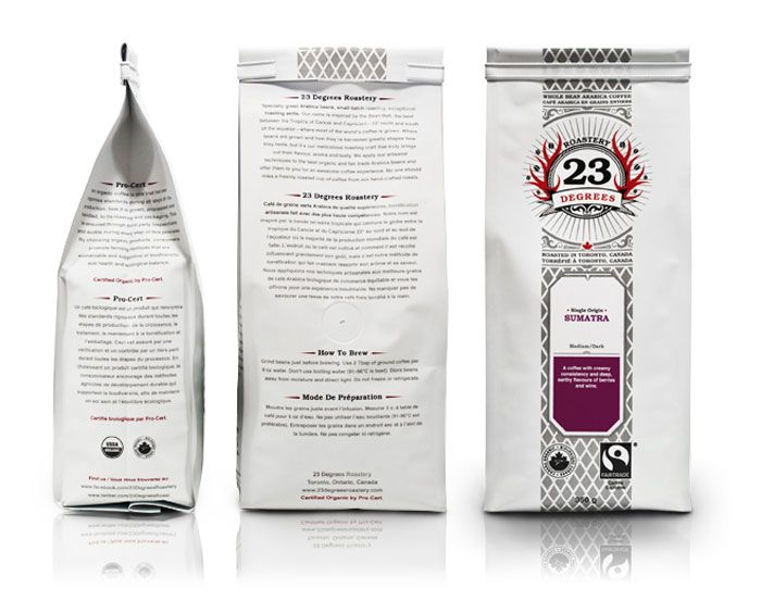 Branding and packaging for a line of specialty coffees at 23 Degrees Roastery in Toronto. Design by Tibor Svajko.