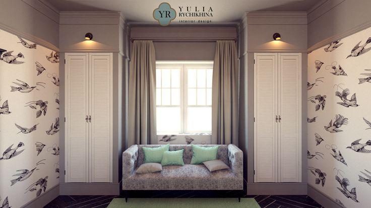 Big bedroom in country residence. Interior design by Yulia Rychikhina. Дизайн интерьера большой спальни для гостей в загородной резиденции. Дизайн интерьера Юли Рычихиной.