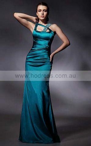 Elastic Woven Satin Strapless Natural Sheath Floor-length Bridesmaid Dresses 0190757