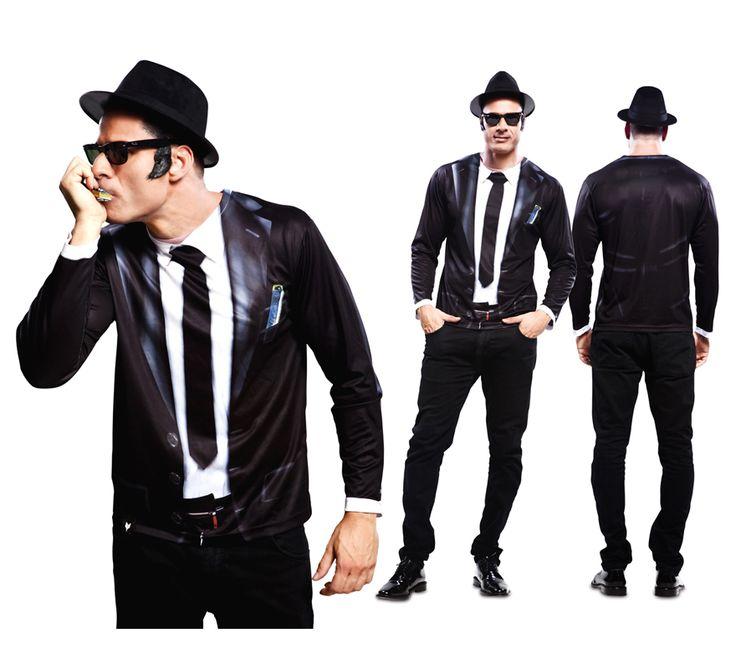 Camiseta disfraz #Bluesman. Perfecto para imitar el estilo de los #Blues Brothers. ¡¡¡Apúntate a la moda y Camisfrázate!!! #costume #fathersday #disfraces #disfraz #blues #diadelpadre