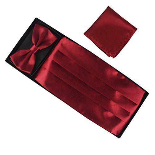179 kr. (Findes i 10 forskellige farver) Fan-tastik Mens Silk Grossgrain Bow Tie and Cummerbund Set with a Pocket Square [ Burgundy ] Elviros http://www.amazon.co.uk/dp/B00ZWQ5G60/ref=cm_sw_r_pi_dp_rV04wb1846GHN