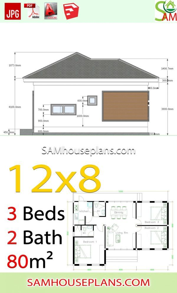 House Plans 12x8 With 3 Bedrooms Hip Roof Samhouseplans In 2020 House Plans Hip Roof House Construction Plan
