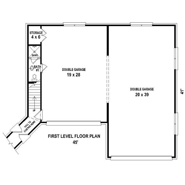 2 Car Garage Apartment Plan Number 94343 With 1 Bed 1: Traditional Style 6 Car Garage Apartment Plan Number 44914
