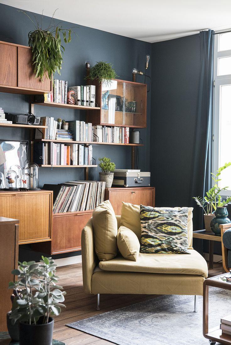 Sarah's Wonderful Moody Antwerp Abode // Living room in Farrow and Ball Hague Blue