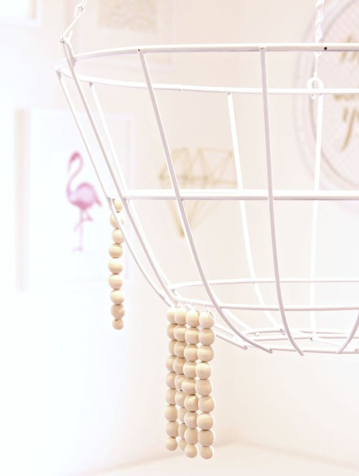 Wood Bead Chandelier (or other medium!) from a hanging basket - Click for tutorial