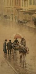 """Paul Sawyier (1865–1917) - ST. CLAIR PEDDLER - Watercolor, 20 """" x 10"""" - Signed -   Named for Revolutionary War general & Continental Congress President Arthur St. Clair, St. Clair Street is one of the major commercial corridors of Frankfort, Kentucky. On the north end, the street runs into Gideon Shryock's Greek Revival Old State Capitol building, while the south end turns into Frankfort's famed Singing Bridge over the Kentucky River. Sawyier painted this area many times..."""