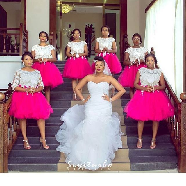 Beautiful bride @m.o.c.o.a with her bridesmaids  Photo by: @seyiturbostudios  Bridesmaids dress by: @aprilbykunbi  Brides makeup by: @n_k_a_a_y.  Hair by: @yellowsisi