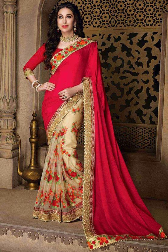 Karisma Kapoor Beige and Red Embroidered Saree - Women
