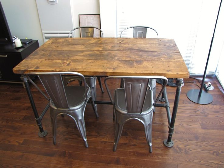 Wood Topped Table With Pipe Base From Rustic Elements Furniture In Joliet,  IL