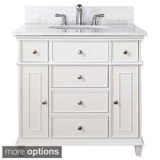 Image Gallery Website Avanity Windsor Inch Vanity with Carrera White Marble Top And Sink in White Finish Faucet not included Home Depot Canada