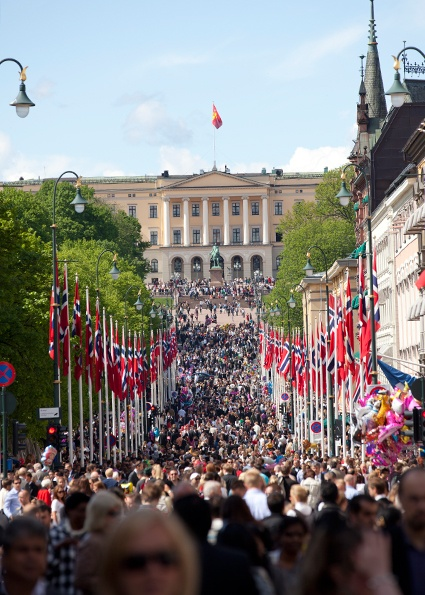 Oslo 17-mai. Constitution Day, a lovely National Holiday, celebrated here in Oslo on Karl Johan, looking toward the Palace.