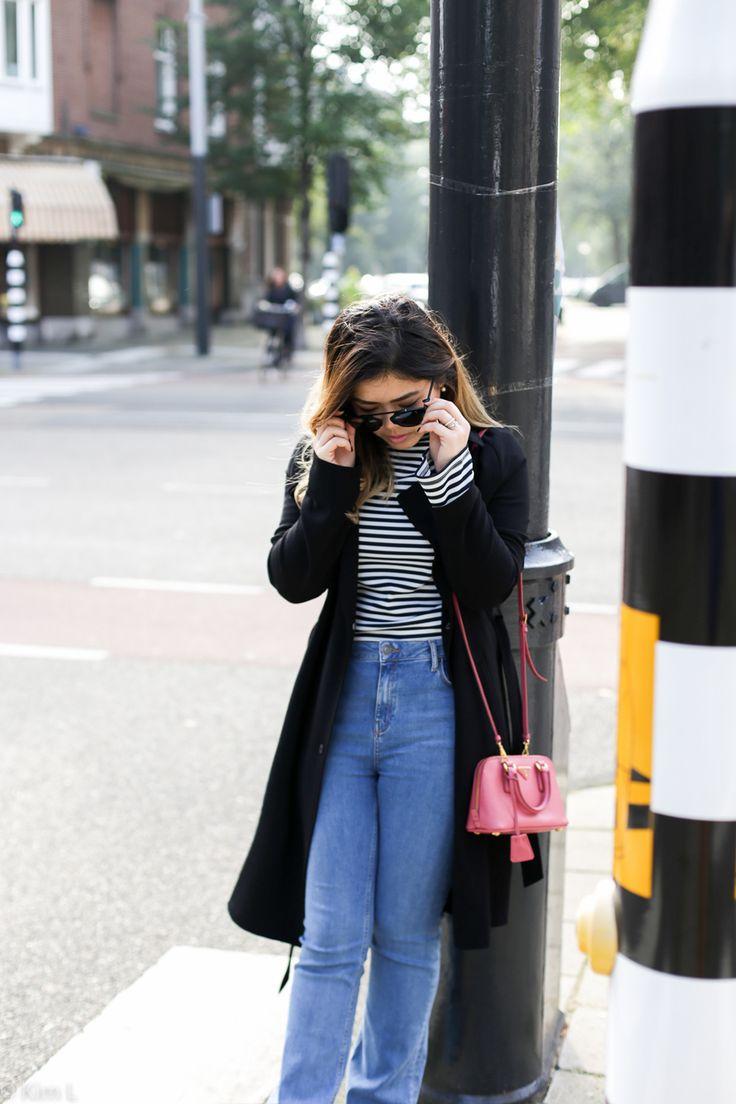 Amsterdam | Stripes and high waisted flare jeans   #pradabag #prada #stripes #basic #bloggerstyle