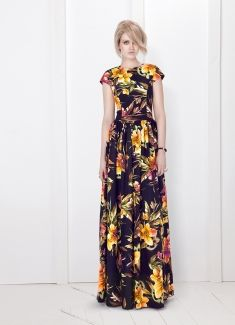 Yellow Floral Maxi Dress / bizuu