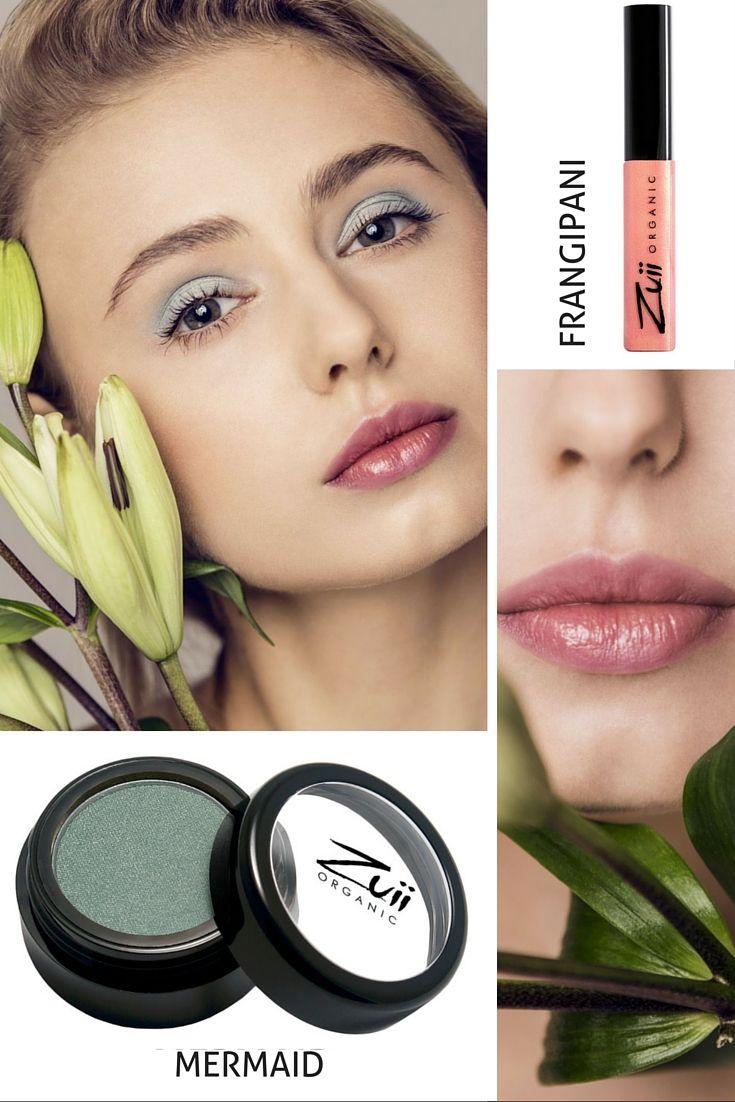 Makijaż dla cery zimnej Zuii: 2 kluczowe produkty: Mieniący się odcieniami srebrzystej szarości i morskiej zieleni cień do powiek MERMAID oraz opalizujący różowo i złoto błyszczyk FRANGIPANI