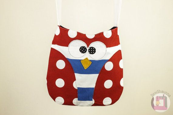 Red and White Polka Dot Owl Bag / / Tote Bag / Shoulder Bag / Womens Handbag / Handmade Womens Purse