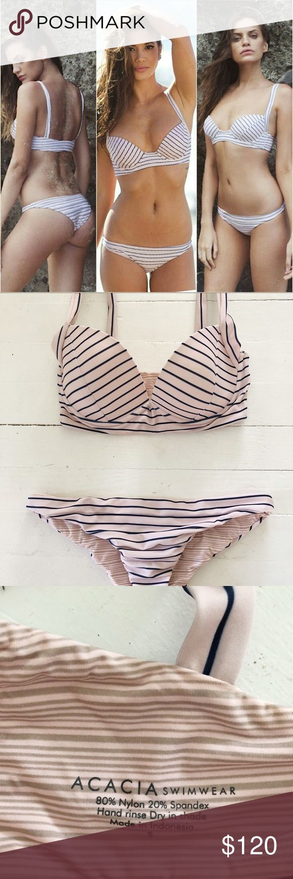 Acacia cape cod top and bottom Acacia bikini in cape cod print. The top is a size S and bottom a size M. This suit has been worn twice and has been washed and dried as instructed. The cut is very flattering the print is a super light pink and navy stripe. acacia swimwear Swim Bikinis