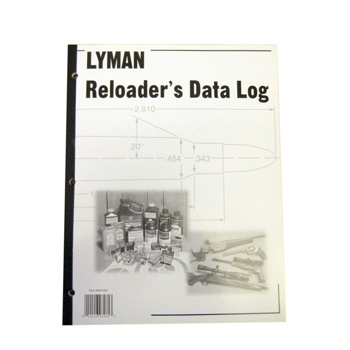 "Lyman Reloaders Data Log. Lyman's Reloading Data Log keeps your reloading records safely and conveniently organized. The Lyman Reloading Data Log is a must for shooters who reload. The large, easy-to-use format has plenty of room to enter all important data such as bullet, powder, primer, case, firearm used, plus group size, velocity, conditions and several lines for comments on your reloads. Large 8 1/2"" x 11"" size. 50 pages per log."