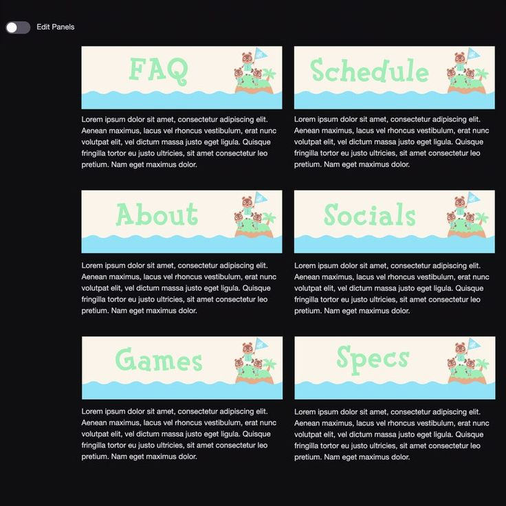 Twitch Channel Panels Animal Crossing New Horizons