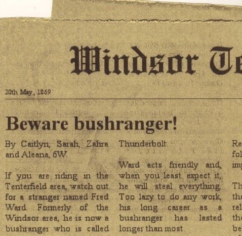 Newspaper article about Captain Thunderbolt!