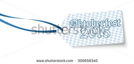 hangtag with blue white checkered pattern and text Oktoberfest 2015 (german)