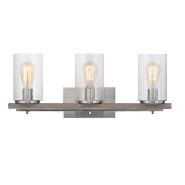 Progress Lighting Boswell Quarter 8 In 3 Light Brushed Nickel Vanity Light With Weathered Gray Wood Accents And In 2020 Wood Accents Grey Wood Interior Light Fixtures