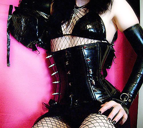 Spiked Pvc Corset   Eyepatch