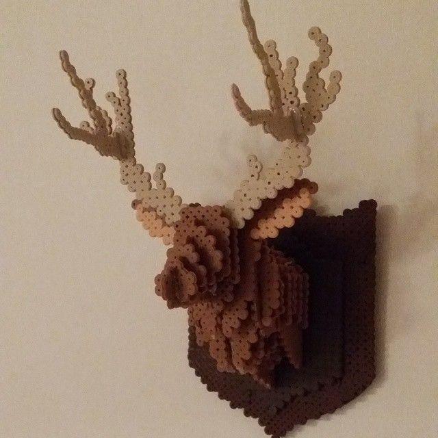 3D Deer hama perler art by pysselfirrda