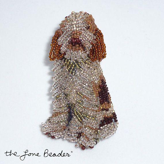 Beaded ITALIAN SPINONE dog art pin/ pendant / by thelonebeader, $125.00