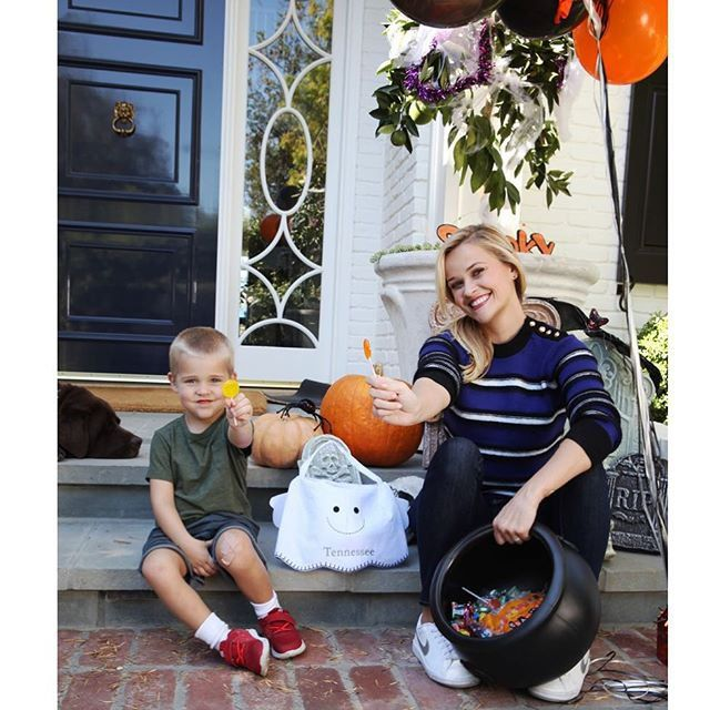Pin for Later: Reese Witherspoon's Instagram Will Make You Fall in Love With Her All Over Again  The actress and her son, Tennessee, waited outside for trick-or-treaters on Halloween in 2015.