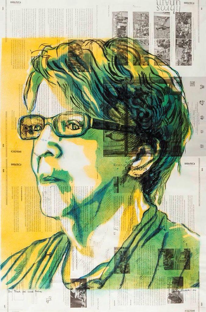 #Retrato de Teresa del Conde Pontones por Isabel Hermida Silva. Stencil y tinta china sobre papel. Primer lugar #UNAM #AutoresUNAM