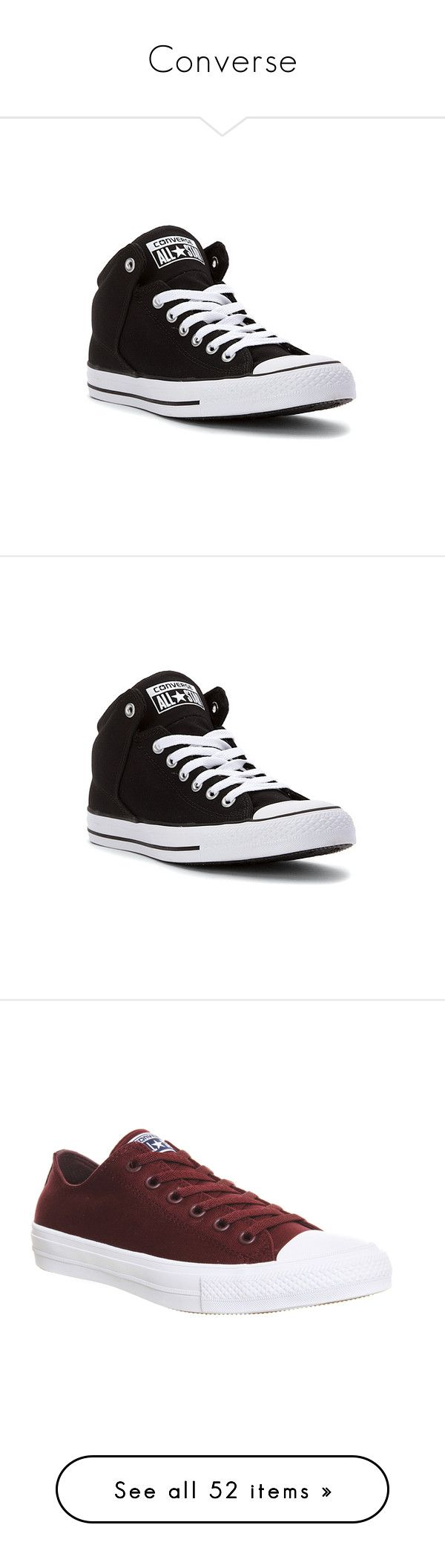 """""""Converse"""" by georgia-lane ❤ liked on Polyvore featuring shoes, sneakers, converse, athletic-inspired, black, black sneakers, black high top shoes, black hi tops, high top sneakers and black high top trainers"""