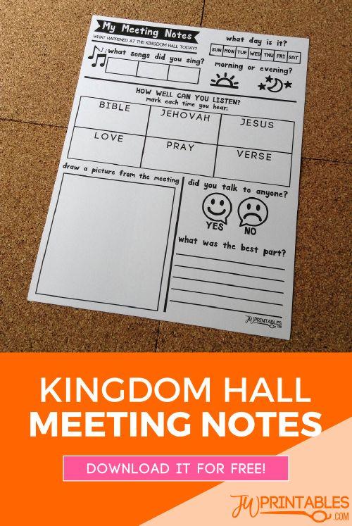 My Meeting Notes JW | JW Printables